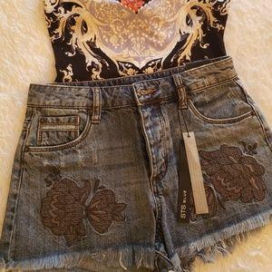 STS Super cute embroidered Fringe denim shorts 24